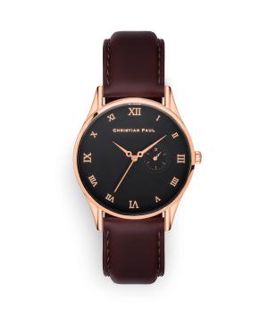 Luxury rose gold and black dial genuine leather brown watch