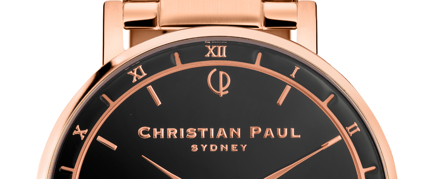 Luxury black and rose gold dial rose gold link watch