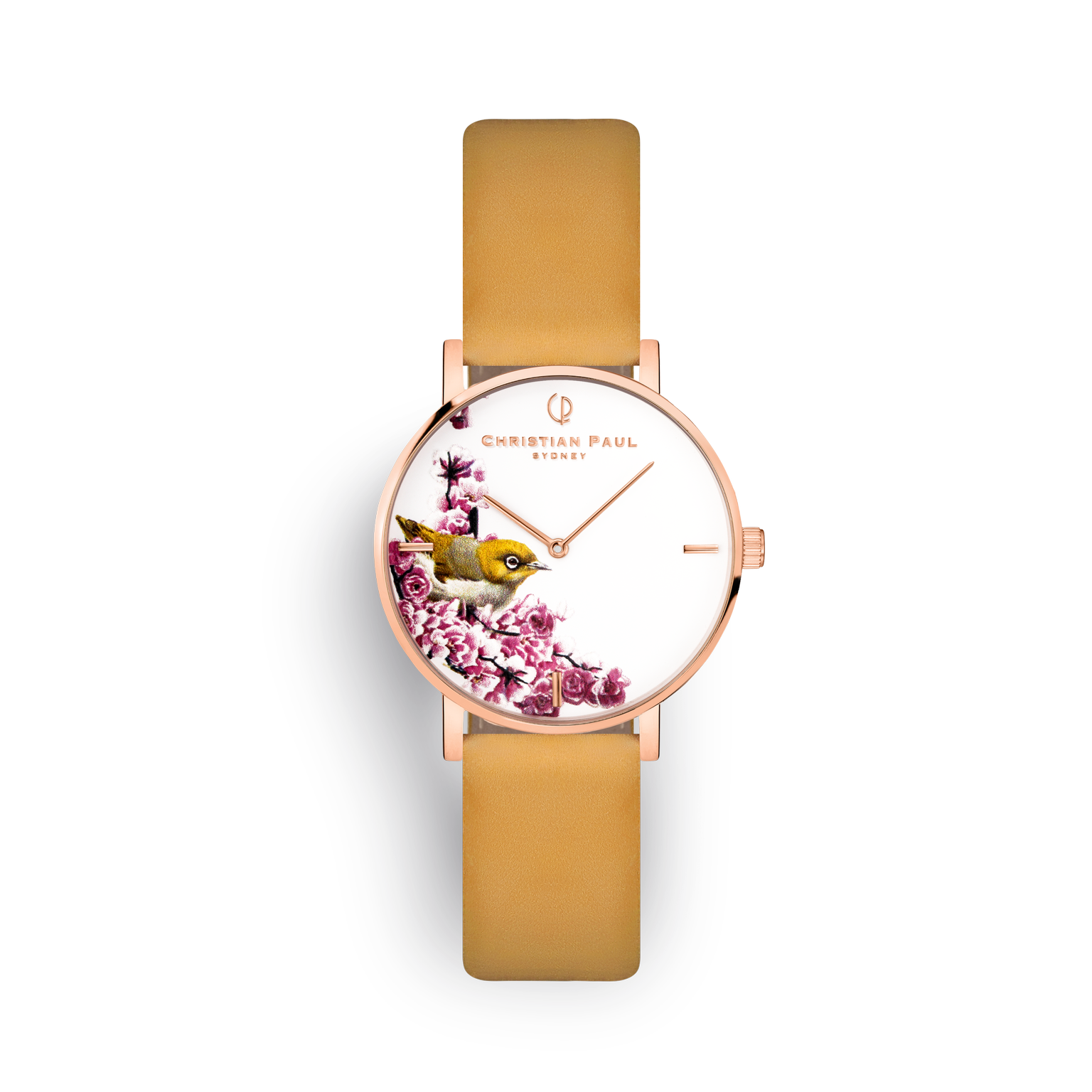 floral mustard and rose gold watch