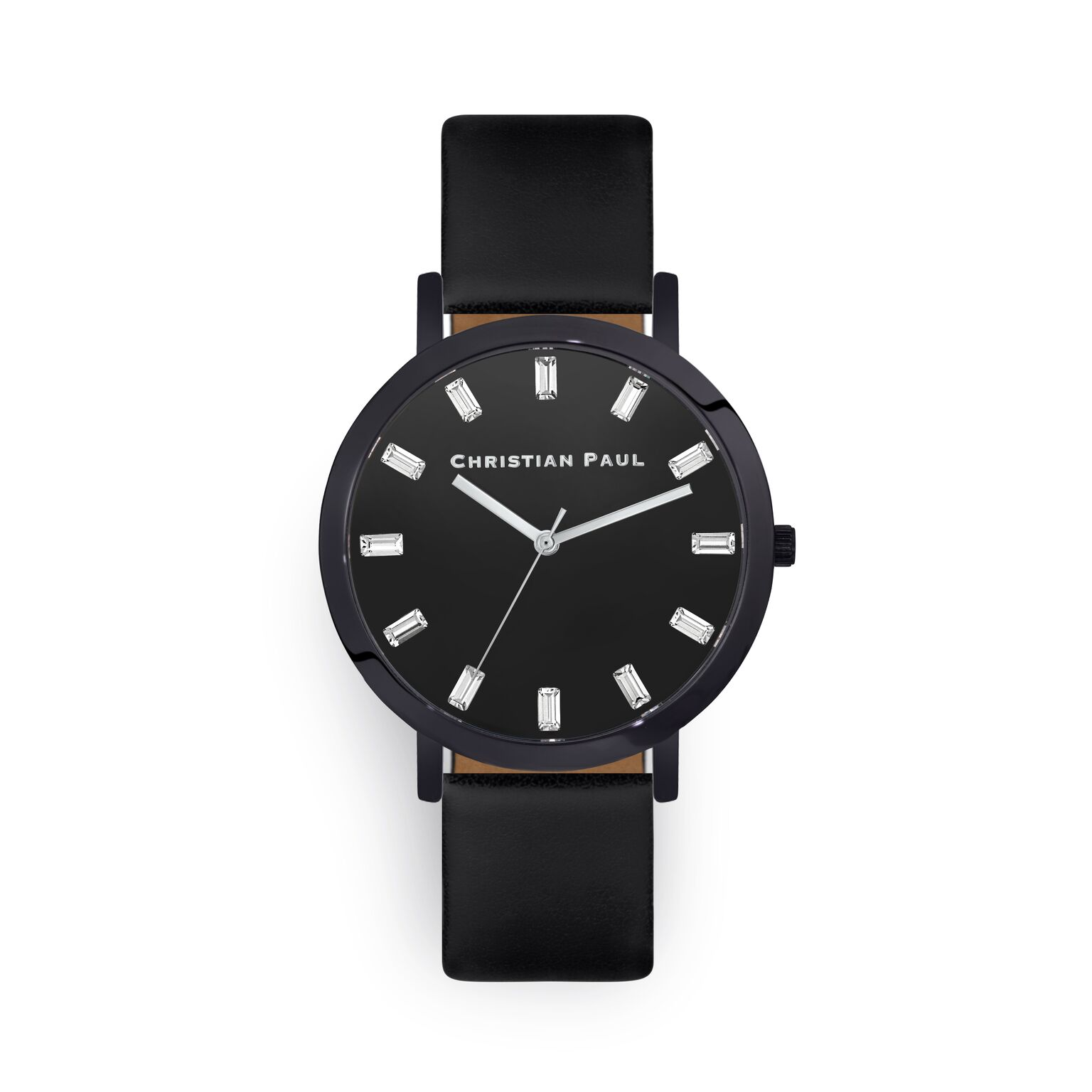Luxury Black leather watch with crystals