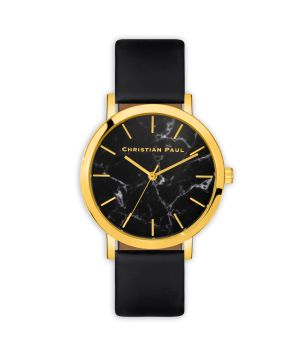 Luxury gold and black leather watch