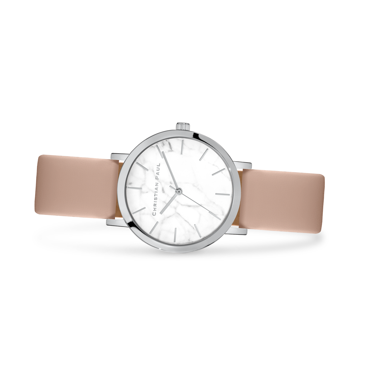 Luxury silver nude leather watch